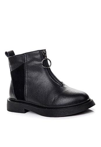 Twenty Eight Shoes 黑色 磨沙牛皮和頭層牛皮中筒靴 VB1555 4596BSH8FD1A73GS_1