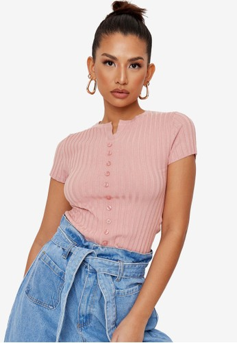 MISSGUIDED pink Extreme Rib Button Up Top B3826AAD0CBAE7GS_1