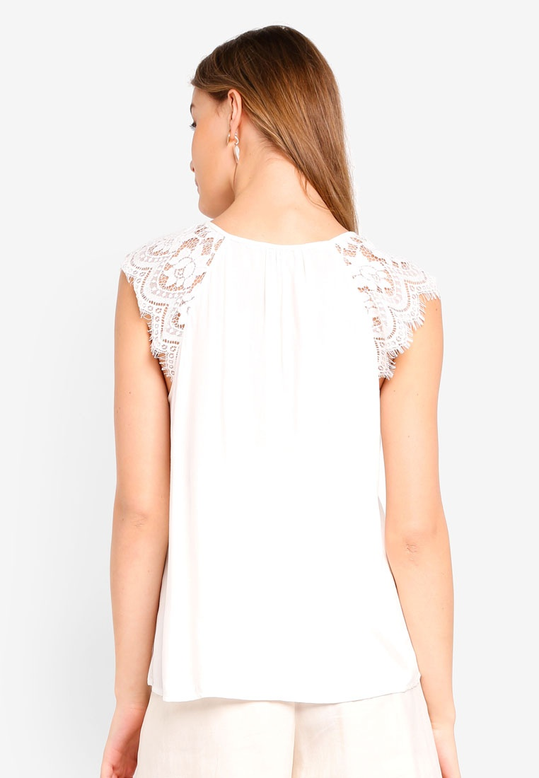 Vero Trudy White Top Lace Moda Snow qqC0zw