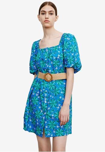 Urban Revivo 藍色 公主袖腰帶 洋裝 114A4AA20CEBD7GS_1