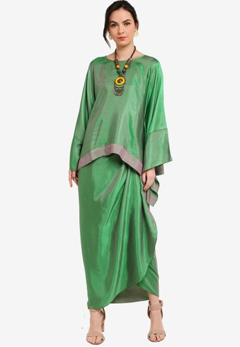 Yans Creation green ANGGUN Sleeve Kaftan Set D45D3AAEA3FA08GS_1