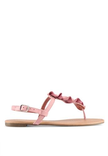 Rubi brown Everyday Ruffle Toe Post Sandals 70C7CSHA9D598CGS_1