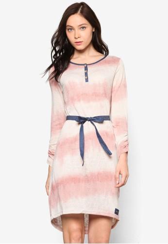 esprit分店地址Gava 漸層條紋長袖連身裙, 服飾, 洋裝