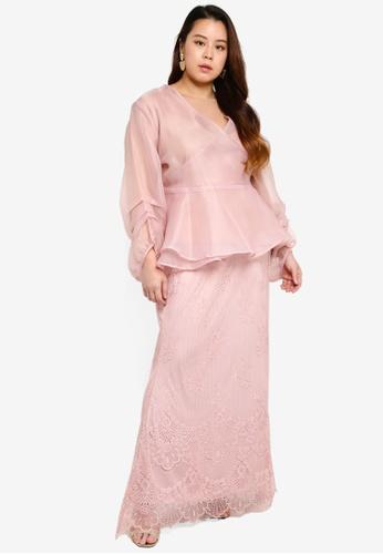 CURVA FABULOUS pink Puff Sleeve Organza Wrap F079FAA3A87DCDGS_1
