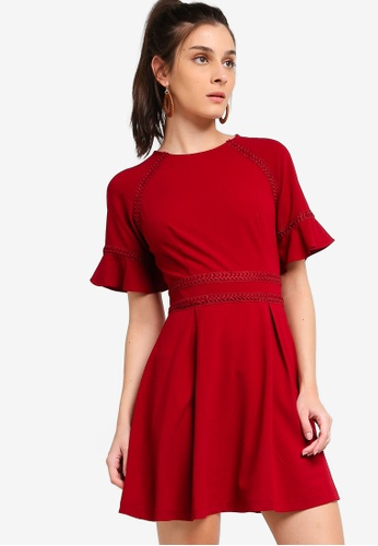 ZALORA red Raglan Sleeves Dress With Trimming F9FD5AA50C6125GS_1