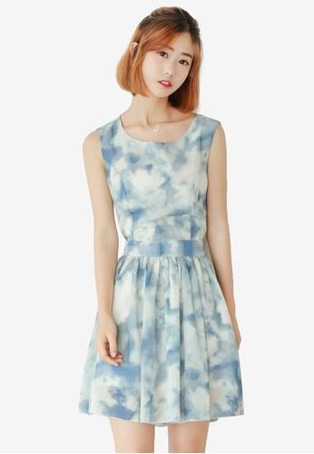 抽象印花背部鏤空無袖連身esprit 香港裙, 服飾, 洋裝
