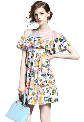 Sunnydaysweety multi Floral Open Shoulder Ruffle One Piece Dress K200427 08E5AAA30F86CEGS_1