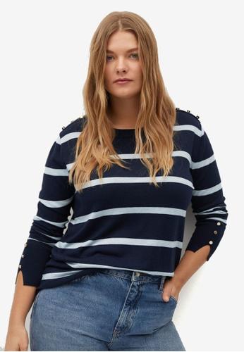 Violeta by MANGO blue Plus Size Buttoned Striped Sweater 87CE3AA93B5CC6GS_1