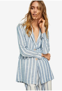 Mango blue Striped Linen Blazer 9C62BAA5CAA00BGS_1