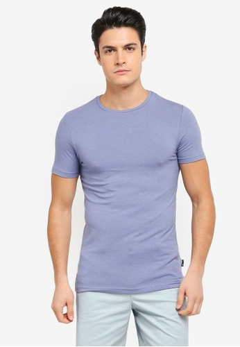 Burton Menswear London blue Blueberry Muscle Fit Crew Neck T-Shirt BU964AA0T1HIMY_1