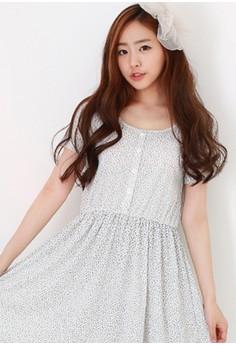 [EYECREAM] Floral Short Sleeve Pyjama Dress