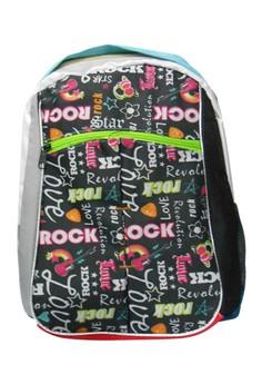 Multi Word Design School Bag BackPack Rock Design BP-98