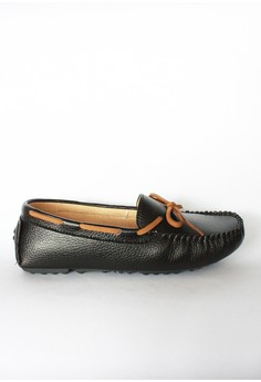 Justine' Ribbon Leather Driving Shoes