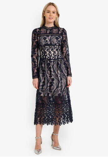 Miss Selfridge navy Premium Lace Long Sleeve Midi Dress MI665AA0RN0VMY_1