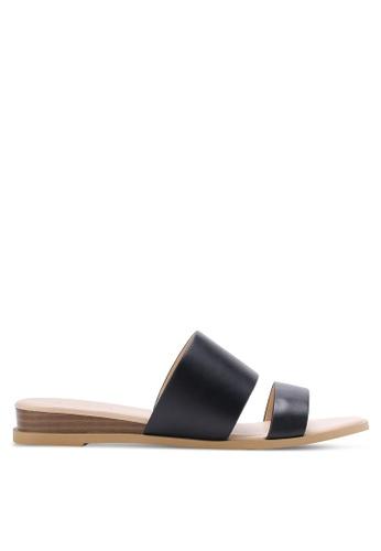 ZALORA black Low Wedge Double Strap Sliders 67B1DSH01E1033GS_1