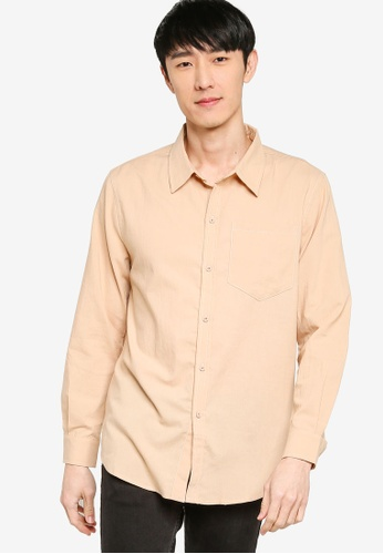 ZALORA BASICS brown Contrast Stitch Regular Fit Shirt 30C29AA2D11ED0GS_1