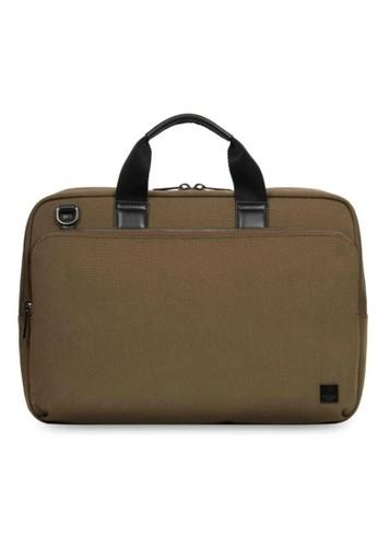 """knomo brown Maxwell 15"""" Slim Briefcase (Army) 30D27AC4B5B283GS_1"""