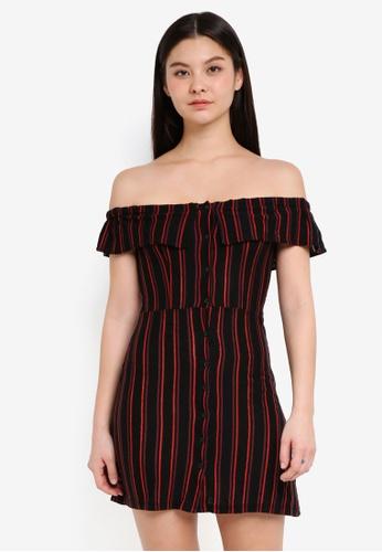 TOPSHOP black and multi Striped Frill Bardot Dress 33D3BAAE7120F3GS_1