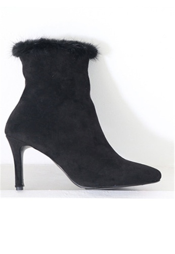 Crystal Korea Fashion black Korean Made Suede Rabbit Fur High Heel Boots CR681SH2WDPKHK_1