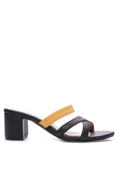 JONA black strap slip-on 2-inch chunky heeled sandals
