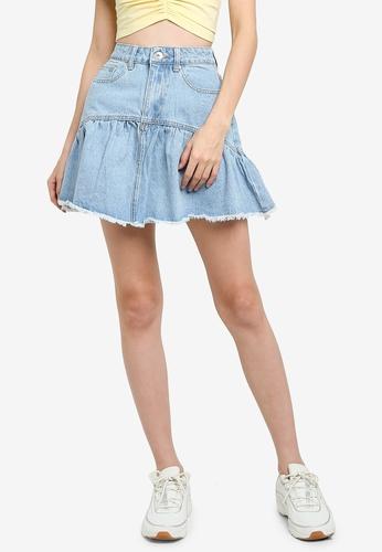Supre blue Ruffle Denim Mini Skirt 4246BAA5A770C3GS_1