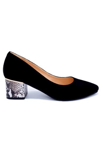 Toufie black Aruba 50 Mid Heel Snake And Leather - Black And Black & White 70BB0SH6983B2CGS_1