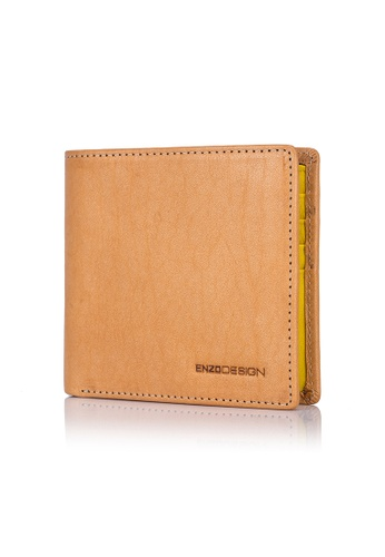 ENZODESIGN brown and yellow and multi Italian Leather Streetcasual Bi-fold Wallet (10 card slots) EN357AC0FP6WSG_1