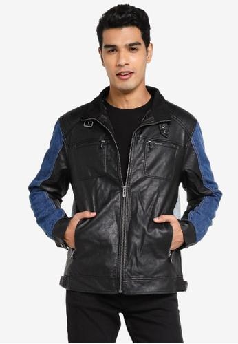 Desigual black Panelled Biker Denim Jacket 32664AA0D5ADEEGS_1