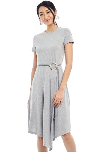 Nichii grey Buckled A-Line T-Shirt Dress 70721AA12FB656GS_1