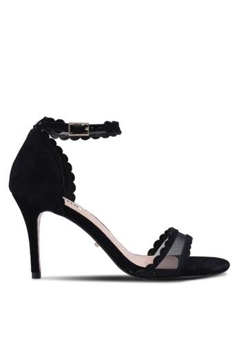 Dune London black Maam Mesh Scallop Sandal Heels E775ASH958C4ECGS_1