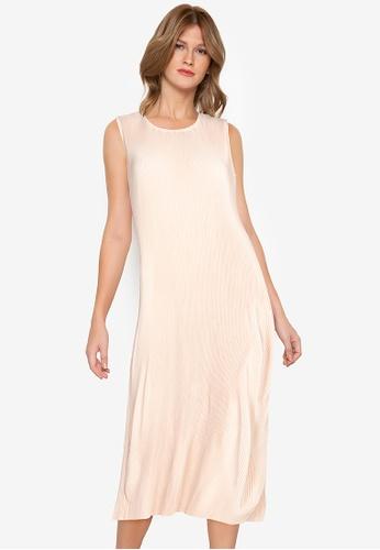 ZALORA WORK 米褐色 Pleated Midi Dress 47431AACD50ED3GS_1