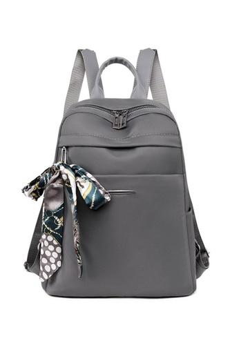 Lara grey Women's Silk Scarf Bowknot Decorated Oxford Cloth Zipper Backpack - Grey 24943AC431ABAAGS_1
