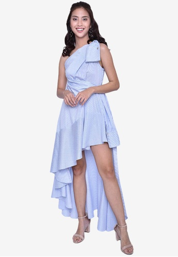 Caoros blue Asymmetrical Goddess Style Dress 6CE6AAAE8BFEC1GS_1