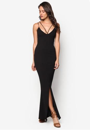 雙肩帶前開叉魚尾連身長裙, 服esprit hk store飾, 服飾