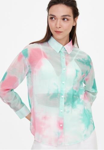 Pomelo green Sheer Front Pocket Tie Dye Shirt - Green F126AAA3FE054BGS_1