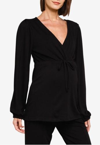 Mama.licious black Maternity Picas Tess Long Sleeve Jersey Top E72A1AA29CCEA8GS_1