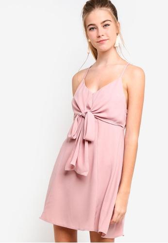 Something Borrowed pink Front Tie Chiffon Swing Dress BFAB5AABCB8747GS_1