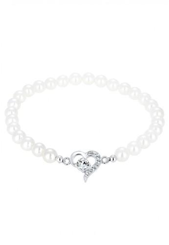 Elli Germany white Perhiasan Wanita Perak Asli - Silver Gelang Mutiara Heart Crystal EL948AC26ZQFID_1