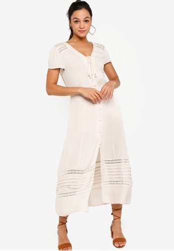 Something Borrowed white Midi Dress with Lace Inserts 060EDAA6F5A380GS_1