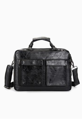 Lara black Plain Top Handle Briefcase WIth A Strap - Black 2CB39ACE33D88AGS_1