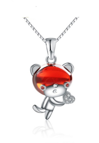 LYCKA red and silver LPP88133 S925 Silver Necklace 29264ACC548261GS_1
