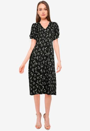 Miss Selfridge black Petite Black Floral Midi Dress E47D2AA49ABB0FGS_1