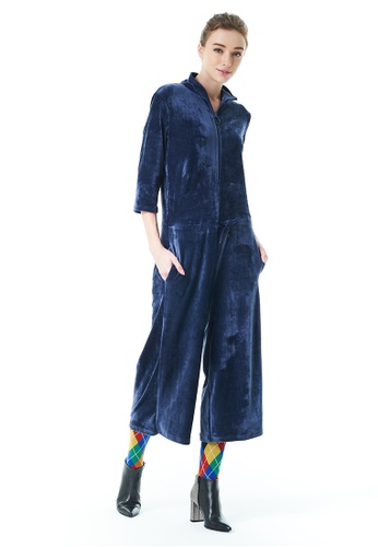 United Colors of Benetton blue Chenille Jumpsuit 883C5AAD945FA3GS_1