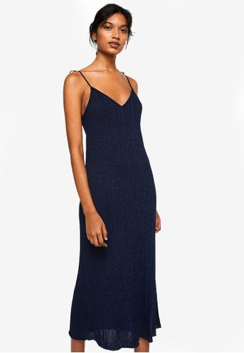 Mango blue Metallic Knit Dress 93BCEAA86790C8GS_1
