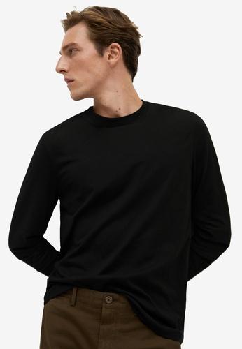 Mango Man black Long Sleeved Cotton T-Shirt D2705AA6C68736GS_1