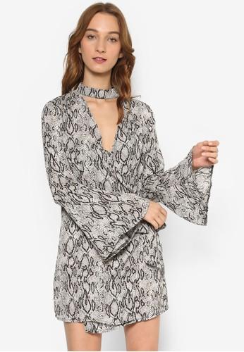 圍脖V 領喇叭長袖連身esprit 香港裙, 服飾, 洋裝