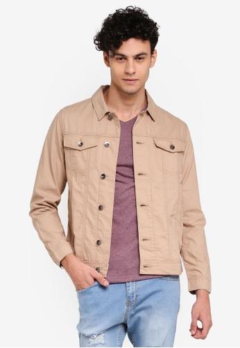Penshoppe 褐色 帆布休閒夾克 33BBEAAB38E9D7GS_1
