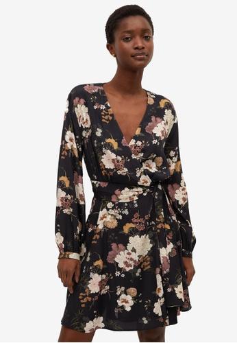 Mango black Flower Print Dress 7846FAAC042C5DGS_1