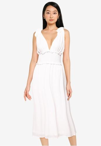 ZALORA BASICS white Deep V Midi Dress 7FB79AA691FCC7GS_1
