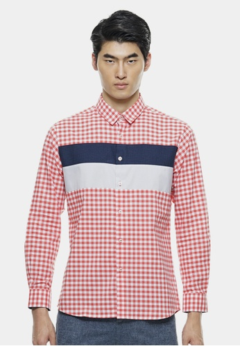 Private Stitch red Stylish Long Sleeve Shirt with Border Design PR777AA65SVAMY_1
